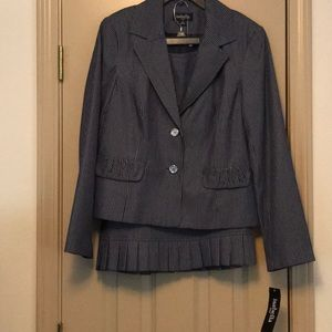 Navy and White Striped 2 Piece Suit Size 12